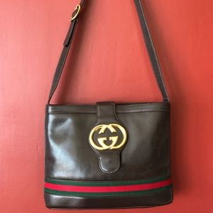 GUCCI Leather Shoulder Bag GG Vintage AUTHENTIC!